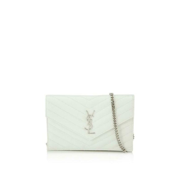 Saint Laurent Chain Wallet Classic Monogramme Envelope White Leather Cross Body