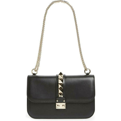 Valentino Shoulder Medium Lock Black Leather Cross Body Bag