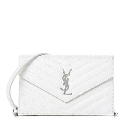 Saint Laurent Wallet Monogram Envelope Grain De Poudre Matelasse Chevron Chain