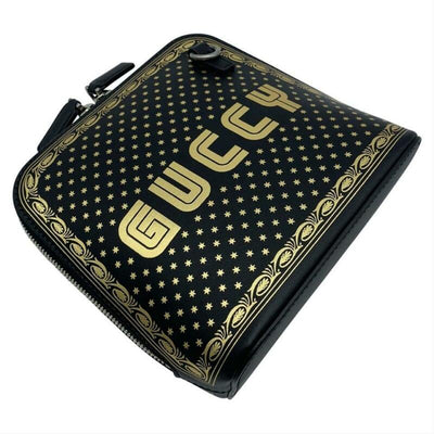 Gucci Logo Moon & Stars Black Leather Cross Body Bag