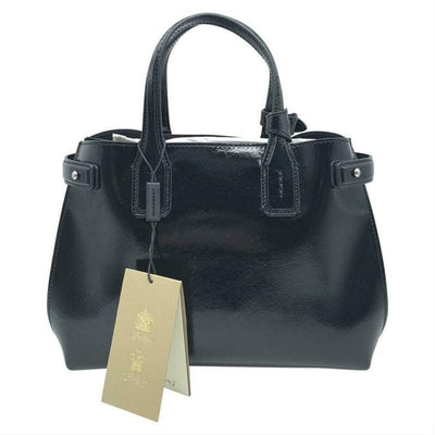 Burberry Small Banner Tote Black Patent Leather Shoulder Bag