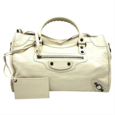 Balenciaga Classic City Tote Beige Leather Satchel