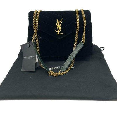 Saint Laurent Monogram Loulou Small Green Velvet Shoulder Bag