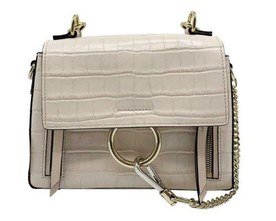 Chloé Faye Small Croc-embossed Cross Body Pink Leather Shoulder Bag