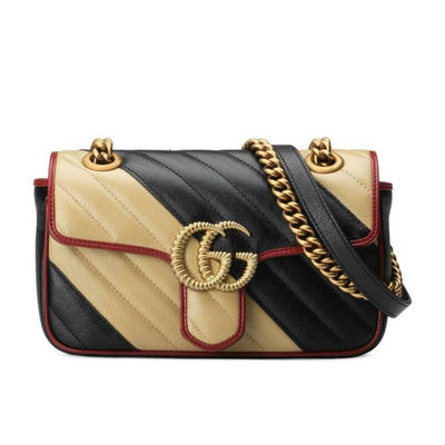 Gucci Marmont Gg 2.0 Mini Pattern Black Leather Shoulder Bag