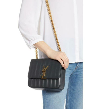 Saint Laurent Shoulder Vicky Medium Monogram Matelasse Algae (Dark Green)