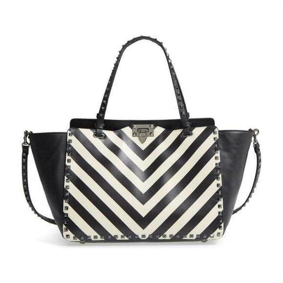 Valentino Rockstud Chevron Stripe Medium Black Leather Tote