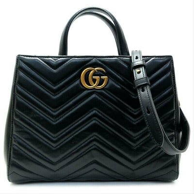Gucci GG Marmont Top Handle Tote Black Leather Shoulder Bag