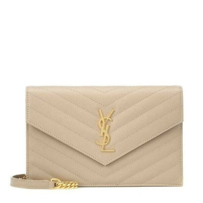 Saint Laurent Monogram Envelope Chain Wallet Small Poudre Beige Leather