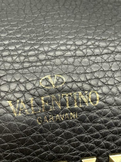 Valentino Pebbled Calfskin Rockstud Flip Lock Medium Black Leather Messenger Bag