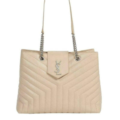 Saint Laurent Monogram Loulou Large Poudre Quilted Matelasse Chain Shopper Beige