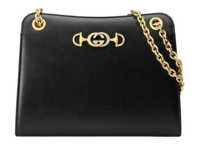 Gucci Tote Zumi Smooth Small Black Leather Shoulder Bag