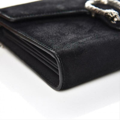 Gucci Chain Wallet Dionysus Mini Black Suede Leather Cross Body Bag