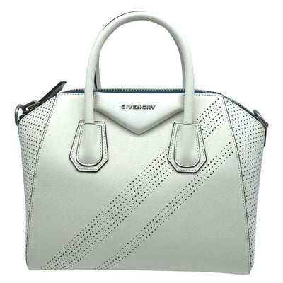 Givenchy Small Antigona Perforated Satchel White Leather Shoulder Bag