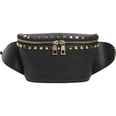 Valentino Belt Rockstud Black Leather Messenger Bag