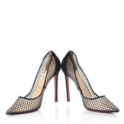 Christian Louboutin Black Fishnet Kid Suede Resille Follies 100 Natural Pumps