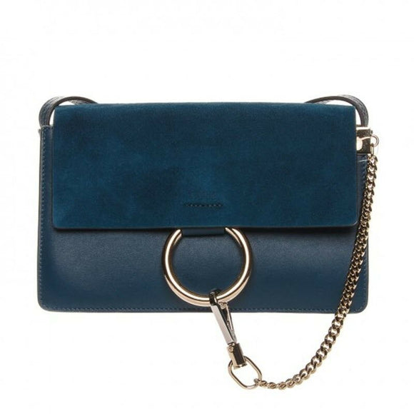 Chloe Faye New Small Majolica Suede Blue Leather Crossbody