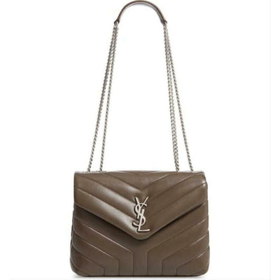 Saint Laurent Monogram Loulou Small Matelassé Brown Leather Shoulder Bag