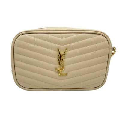 Saint Laurent Monogram Camera Mini Lou Quilted Beige Leather Cross Body Bag