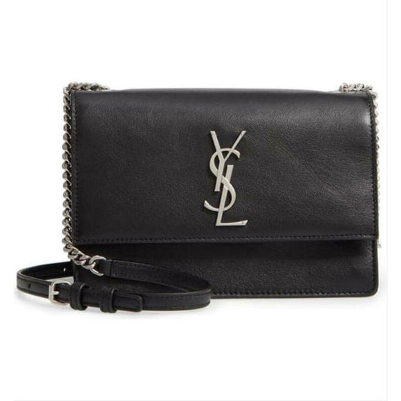 Saint Laurent Monogram Shoulder Sunset Small Black Leather Cross Body Bag