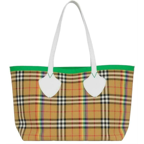 Burberry Medium Giant Vintage House Check Rainbow Beige Coated Canvas Tote