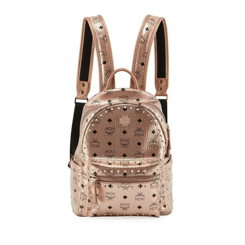 MCM Stark Outline Studs Champagne Gold Leather Backpack
