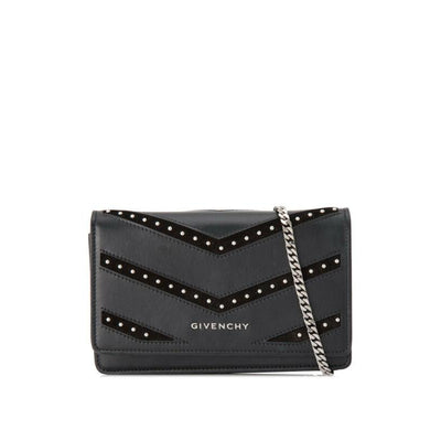 Givenchy Pandora Studded Chevron Leather Chain Wallet Black Crossbody