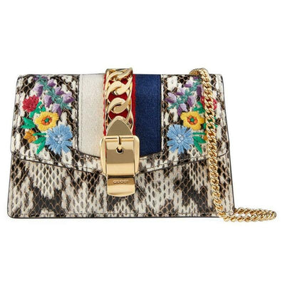 Gucci Sylvie Super Mini Floral-print Snake Wallet On A Chain White Cross Body