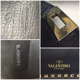 Valentino Vitello Black Rockstud Crossbody Hobo