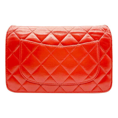 Chanel Wallet on Chain Quilted Woc Red Lambskin Leather Cross Body Bag