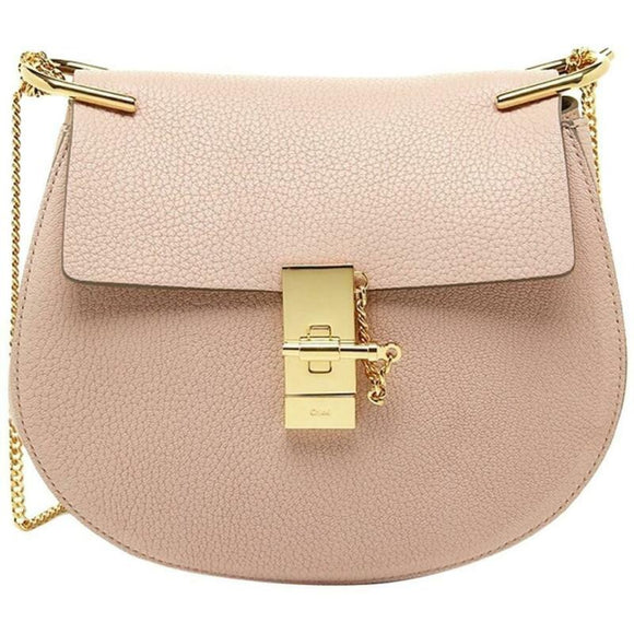 Chloé Medium Drew Cement Pink Leather Shoulder Bag Chain Crossbody