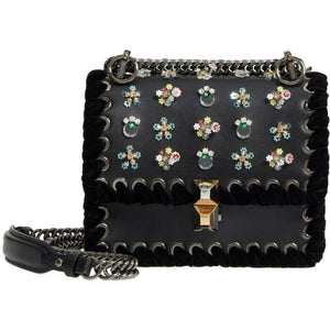Fendi Mini Kan Beaded Flowers Calfskin Shoulder Black Leather Cross Body Bag