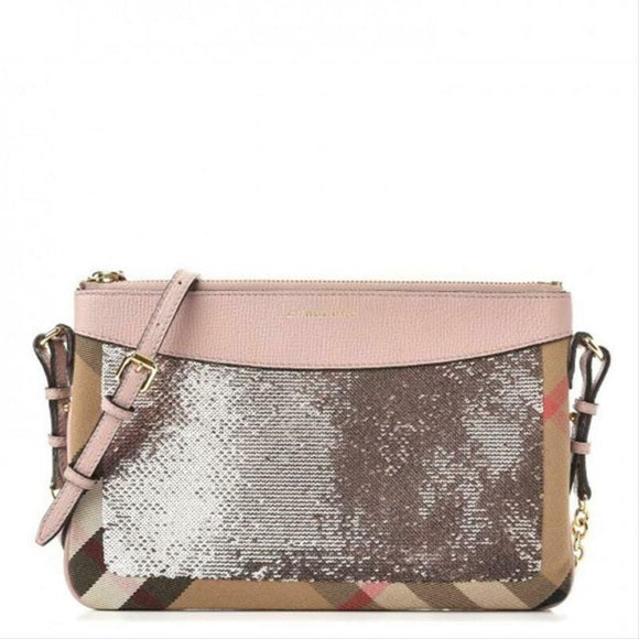 Burberry Peyton Sequin House Check Pink Metallic Brown Canvas Cross Body Bag