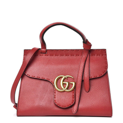 Gucci GG Marmont Top Handle Calfskin Mini Vulcanic Red Leather Shoulder Bag