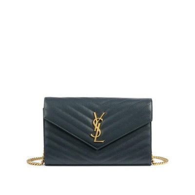 Saint Laurent Chain Wallet Medium Deep Marine Blue Leather Cross Body Bag