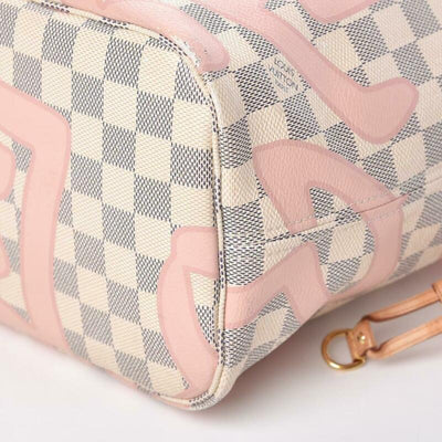 Louis Vuitton Neverfull Tahitienne Mm White Damier Azur Canvas Tote