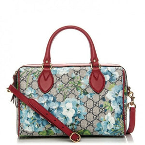 Gucci Boston Small Blooms Top Handle Signature Blue Gg Coated Canvas Satchel