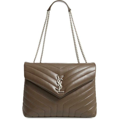 Saint Laurent Monogram Loulou Medium Faggio Brown Leather Shoulder Bag
