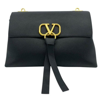 Valentino Medium Vee Ring Black Grained Leather Shoulder Bag