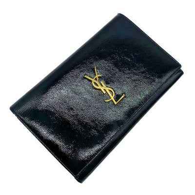 Saint Laurent Wallet on Chain Monogram Kate Calfskin Black Patent Leather Cross