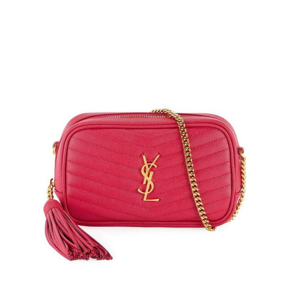 Saint Laurent Loulou Monogram Ysl Camera Pink Leather Cross Body Bag