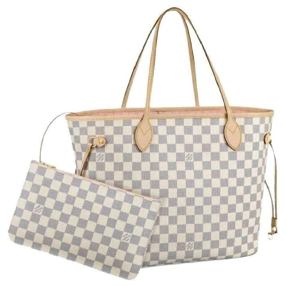 Louis Vuitton Neverfull Mm Rose Ballerine with Pouch 2019 White Damier Azur