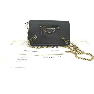 Balenciaga Metallic Edge Chain Gold Chain Wallet Black Leather Cross Body Bag