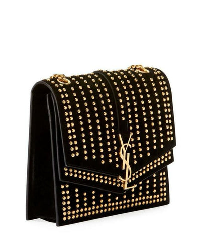Saint Laurent Sulpice Monogram Ysl Triple-flap Black Suede Leather Cross Body