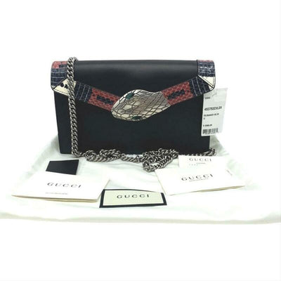 Gucci Chain Wallet Linea Snake Flap Black Leather Cross Body Bag