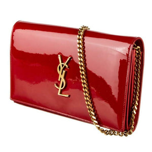 Saint Laurent Monogram Kate Chain Wallet Medium Envelope Red Patent Leather