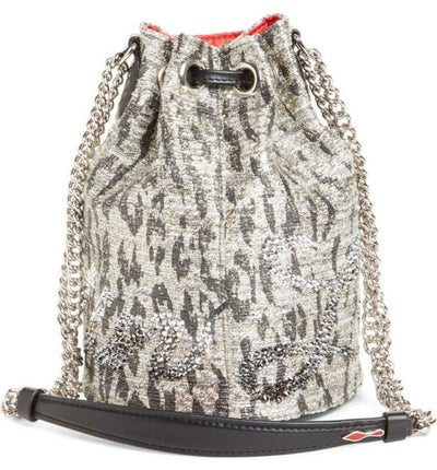 Christian Louboutin Bucket Marie Jane Bouclé Silver Leather Shoulder Bag