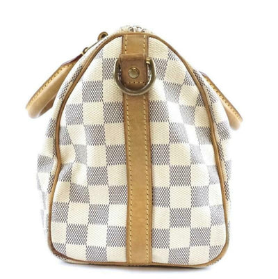 Louis Vuitton Speedy 25 Damier Azur Bandouliere White Coated Canvas Cross Body