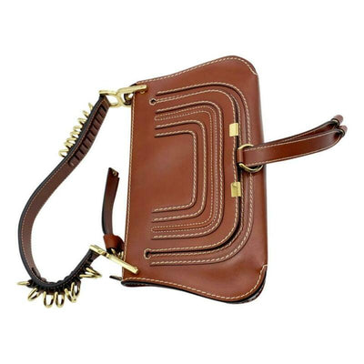 Chloé Marcie Mini Lizard Embossed Satchel Brown Leather Shoulder Bag