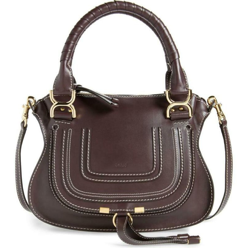 Chloé Marcie Small Calfskin Leather Satchel Black Raisin Brown Shoulder Bag